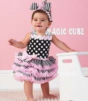 summer New baby girl's flower dress,baby cake dress  ,3pcs/lot