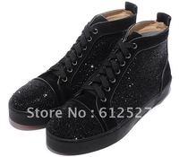 Men  black rhinestone lace-up shoes, fashion men red sole street shining flat shoes