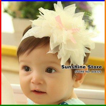 Sunshine store #2B2159 10pcs/lot(3 COLORS) baby Headband bowknot hairband big flower petal children hair accessorie CPAM