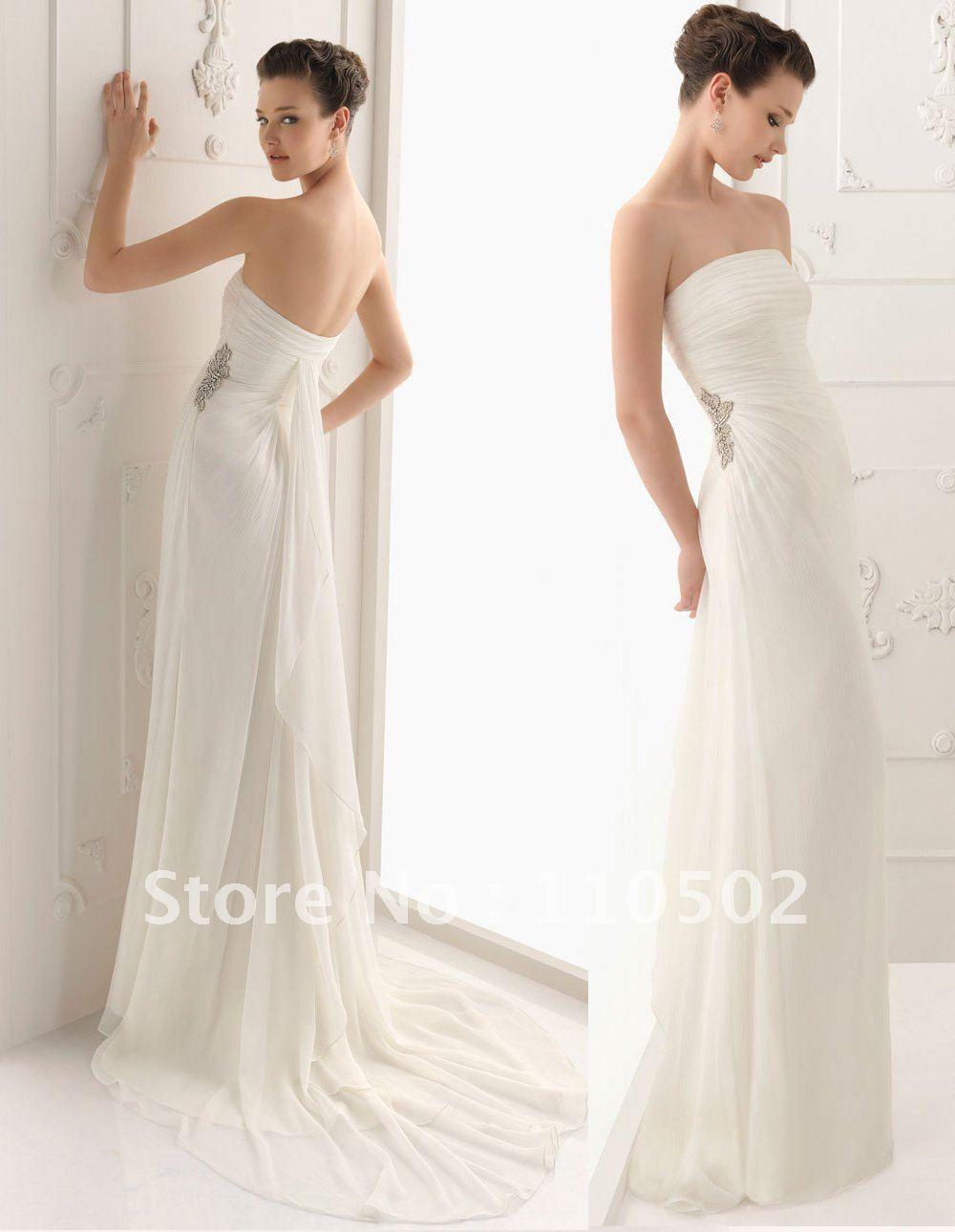 Free Shipping Cost Pleated Strapless Chiffon Beaded Informal Cheap Beach Wedding Dresses