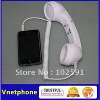 White Retro mobile phone Handset  for iPhone iPad Telephone Style Anti-radiation headphone earpiece Free Shipping