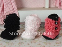 Handmade crochet baby snow booties loops design first walker shoes cotton yarn mix design 8pairs/lot custom