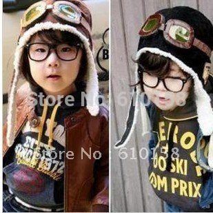 Free shipping NEW 100% wool Wholesale children hats boys flight caps kids winter hats earflap Cap Beanie Pilot