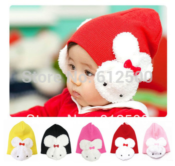 1 Pcs 5 colors Cartoon rabbit Cotton cap infant kids hats children hat