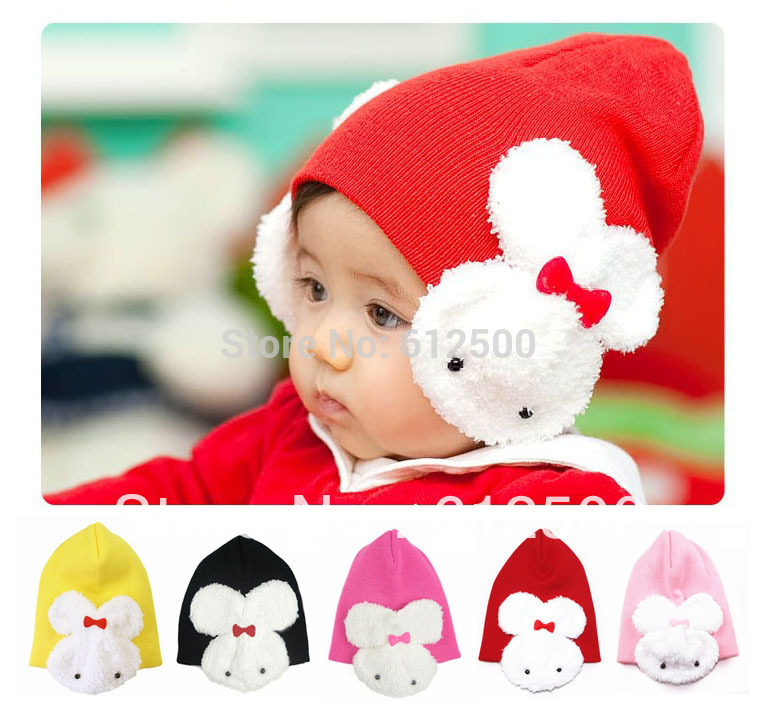1 Pcs 5 colors baby cap Cartoon rabbit Cotton infant kids hats children baby hat(China (Mainland))