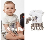 2014 NEW baby clothing set for summer spring boys clothes suit hat+shirt+pants children clothing kids clothes set