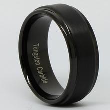 9MM Mens Black Tungsten Carbide Brushed Ring Wedding Band Polished Edge FREE SHIP SIZE 8 13