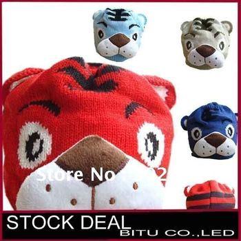 Winter Baby Warm Hats Boys Fashion Cartoon Tiger Animal Caps Beanie Children's Accessories Cute Knitted Kids Hat