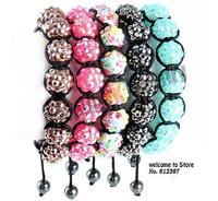 >$10 ,Free Shipping,resin pink charm bracelet for women ,2012  charm bead ,Strand rope shamballa bracelet