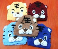 Wholesale!2013New baby winter crochet animal hat baby cap 7 Colors Boy Cartoon Tiger  Knitted Warm Hat Children's snapback hats