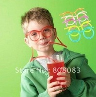 Free shipping ! Crazy Straw Glasses of tea, milk,juice,5 colors / lot ,blue,green,pink,white,orange,best  wacky  gift for child.