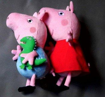 free shipping brand new hard wash peppa pig & george pig plush 2 large size cute kids toddler toys pink