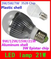 E27 21W 15W 12W 9W 7W 5W 3W Led Bulb Support dimming 110V 220V Silver shell  Led Light lamp