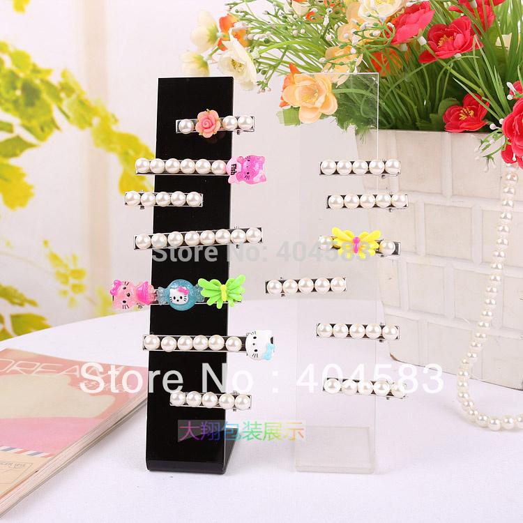 10pcs/lot Hairclip/Hair ties/Hairpin Display Stand Hair decoration/hair ornament Display Stand Holder Rack black and clear-view(China (Mainland))