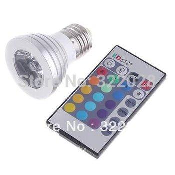 16 Color Changing E27 3W RGB LED Light Bulb Lamp AC85V~265V + IR Remote Control free shipping
