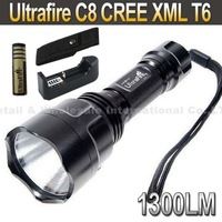 UltraFire C8 CREE XML T6  5-Mode 1300 Lumen LED Flashlight Torch+  4000mah 3.7V 18650 Battery+Charger+pouch