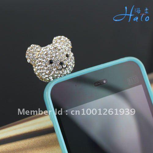 IP006!Just 10PC!Free shipping! Fashion Rhinestone Metal Alloy Ladies Cute Bear Crystal Earphone Dust Plug Mobile phone Jewelry(China (Mainland))