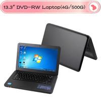 Hot selling Cheap 13.3 inch mini laptop Intel Atom D2500 1.86Ghz processor,DVD-RW 4G/500G HDD,WIN7 1.3M webcam Laptops