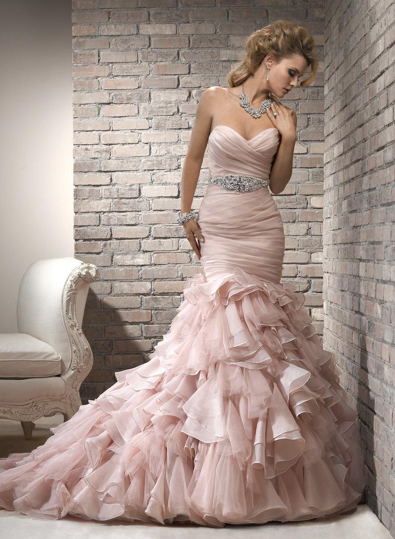 Pink Organza Silver Beading Unique Sexy Mermaid Wedding Dresses