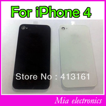 Free shipping Replacement Black/white Glass Battery Cover Back Housing case for iPhone 4 Iphone 4G 10 Pcs