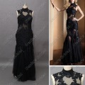 Free Shipping Sexy Black High Neck Beaded Lace Appliques Tulle Floor Length Couture Prom Dress Evening Gown