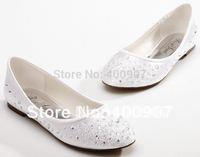 Comfortable crystal satin flat shoes wedding shoes