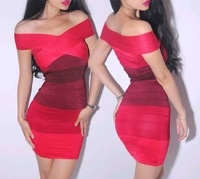 2013 new red gradient  color shoulder jersey bandage dress / F0809