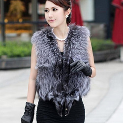 New Real Silver fox fur vest coat waistcoat jacket nature color thickness and lovely(China (Mainland))