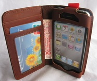 free USPS shipping Genuine COW Leather cowhide Wallet case for iphone 4S Credit Card Wallet