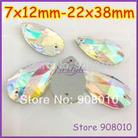 Popular Bright Flatback Sew On Pear Drop Water Crystal AB Stone 7x12mm 10.5x18mm 13x22mm 17x28mm 16x25mm 22x38mm