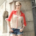 BaBassu colorblock button up shirts blouses.Ladies&#39; Casual Chiffon Blouse shirts