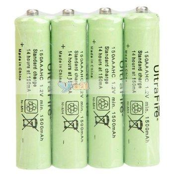 Free Shipping 4Pcs/Set UltraFire AAA 1.2V 1500mAh Ni-MH Rechargeable Battery 88008517