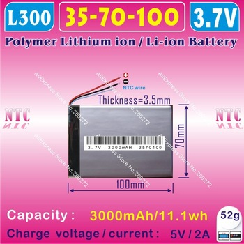[L003] 3.7V,3000mAH,[3570100] PLIB (polymer lithium ion battery) Li-ion battery  for tablet pc,mp4,cell phone,speaker;Q8,Q88