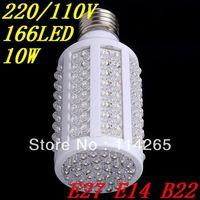 Free shipping 166 LEDs 10W Cold/warm White Energy Saving Corn Light Bulb 1000LM E27 E14 B22 220V/110V lamp