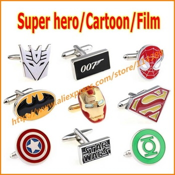 32 Designs Super Hero Cufflinks for Men Marvel Comics DC Transformers Superman Iron Spider man Batman Cartoon Film Cuff Links