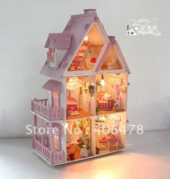 DIY wooden toy house suit block/gilrs' favourite toy house/DIY wooden 3D toy house