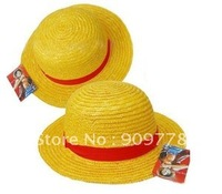 Wholesale 10pcs/lot Boater Straw Hat Cartoon Anime Cosplay Hat Luffy Hat Cap Free Shipping