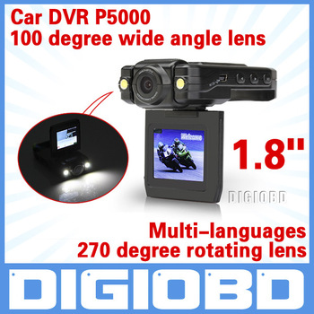 Portable Car DVR P5000 1.8 inch LTPS HD Screen Car Black Box Traffic Recorder 270 Degree Car Video Camera DVR