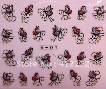 48 styles nail stickers & Decals French design individual package 96pcs 3D ART decoration polish E01-48 stamp forms plate