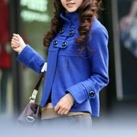 Women Korean Fashion Fit Slim Temperament Woolen Collar Jacket Turtleneck Coat Outwear 4 Colors 35