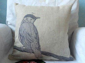 "Free Shipping new arrival !!! a blue bird on a branch printed cotton Linen decor  throw pillow case cushion cover 18 ""X18 """