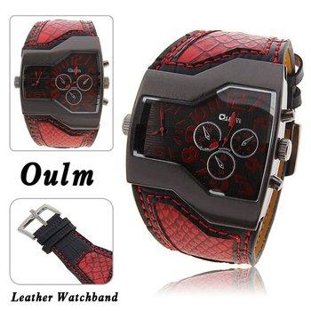 Super fashion Oulm Brand dual Japan quartz Watch Snake strap steel Clcok male Military Man Sports 1120 Casual wristwatch relogio