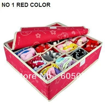 SB020 Select colors different pattern non woven material 16 grids Underwear storage socks tie box storage bag underwear