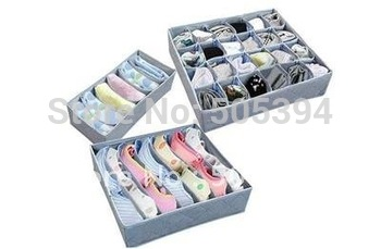 3 pieces a set,foldable box /Bamboo Charcoal fibre Storage Box for bra,underwear,necktie,socks~free shipping#8650