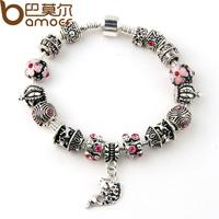 Drop Shipping Fish Charm Chamilia Bracelet 925 Tibetan Silver Murano Glass For Women Fashion European Style Jewelry PA1236