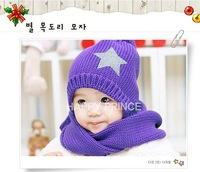 retail baby hat and scarf set Woolen baby cap and scarf winter children's hat infant Knitting caps with star child Crochet hat