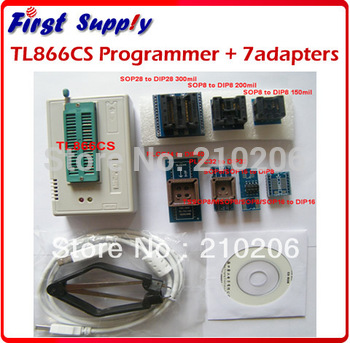 Updated 5.91 new version TL866cs USB Programmer + 7pcs adapters, support 13143+ IC AVR PIC Bios 51 MCU Flash, win7 64bit