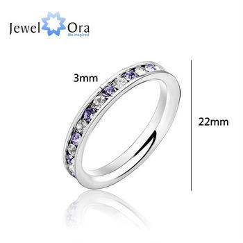 Нержавеющая сталь Xmas Gift Кольца для женщин Ювелирный нержавеющей стали 316L .1Ct Eternity Amethyst Ring ( JewelOra Ri100583 )