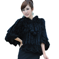 New Style Knitted Rabbit Fur Poncho with Hood 3Colors  K12043#