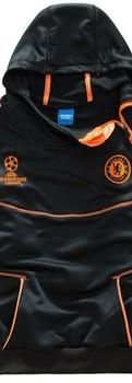 UEFA Champions League Chelsea black/orange football coat & trousers tracksuit,soccer hooded sweater & pants,sportswear uniform